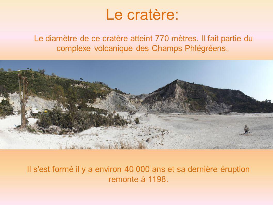 Le cratère: Le diamètre de ce cratère atteint 770 mètres. Il fait partie du complexe volcanique des Champs Phlégréens.