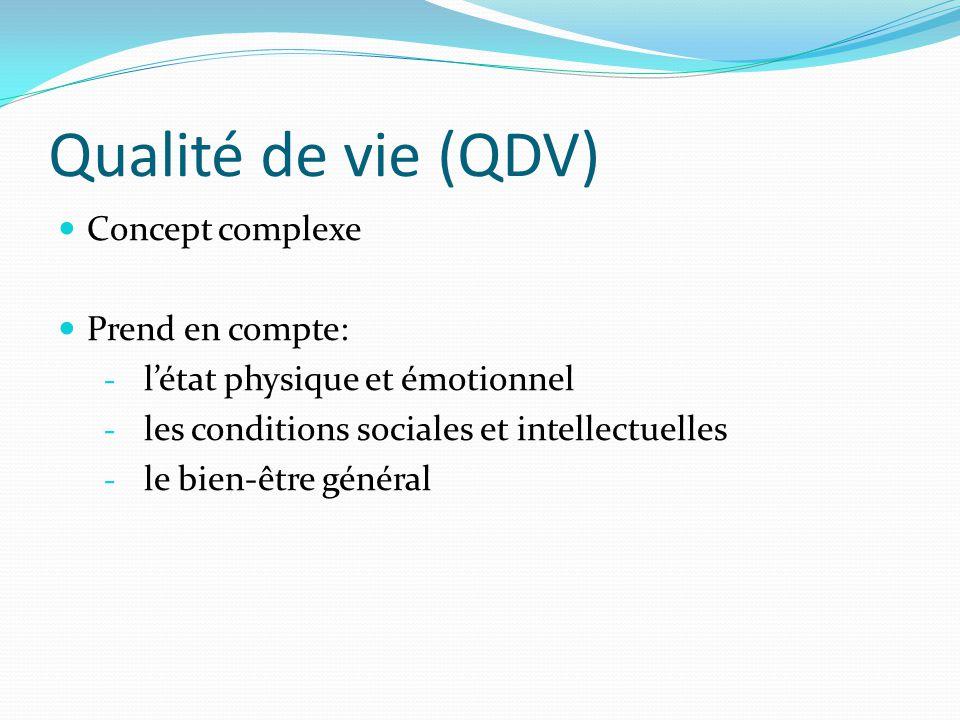 Qualité de vie (QDV) Concept complexe Prend en compte: