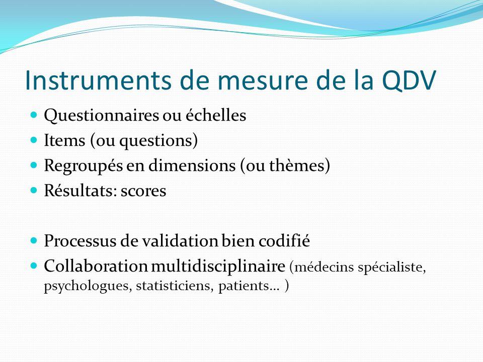 Instruments de mesure de la QDV