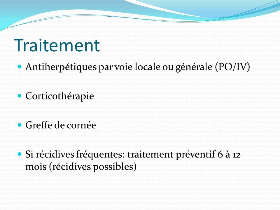Traitement Antiherpétiques par voie locale ou générale (PO/IV)
