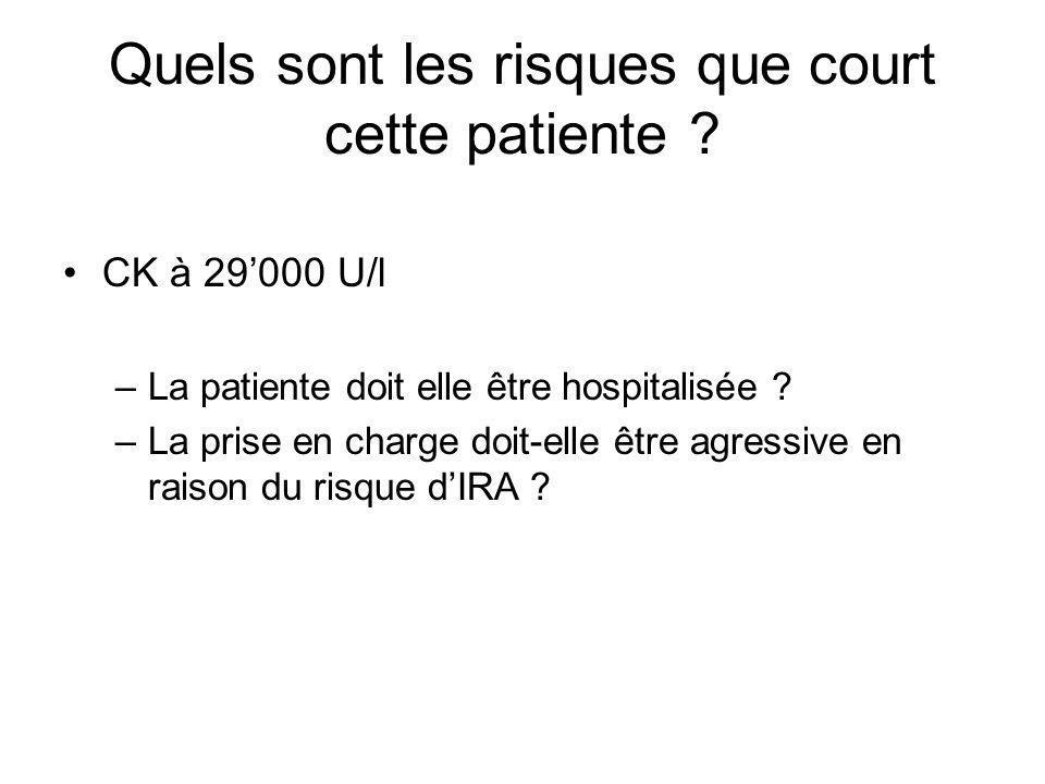 Quels sont les risques que court cette patiente
