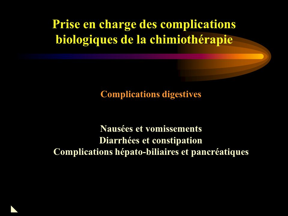 Prise en charge des complications biologiques de la chimiothérapie