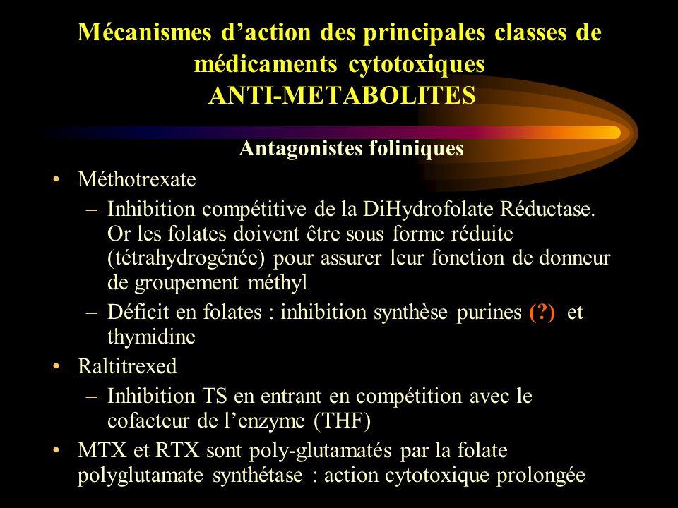 Mécanismes d'action des principales classes de médicaments cytotoxiques ANTI-METABOLITES