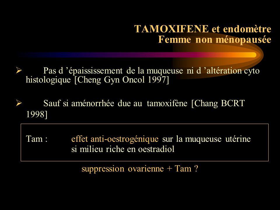 TAMOXIFENE et endomètre Femme non ménopausée