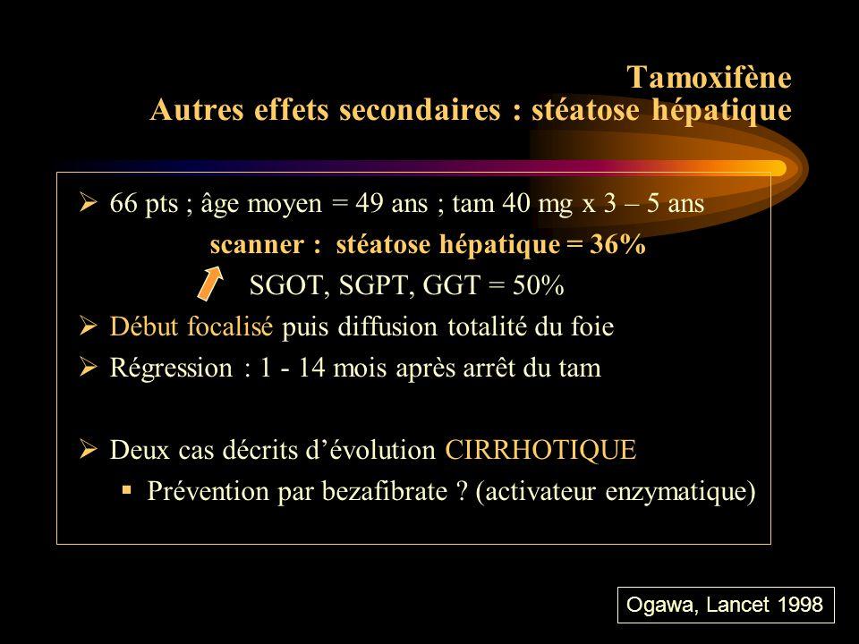 Tamoxifène Autres effets secondaires : stéatose hépatique
