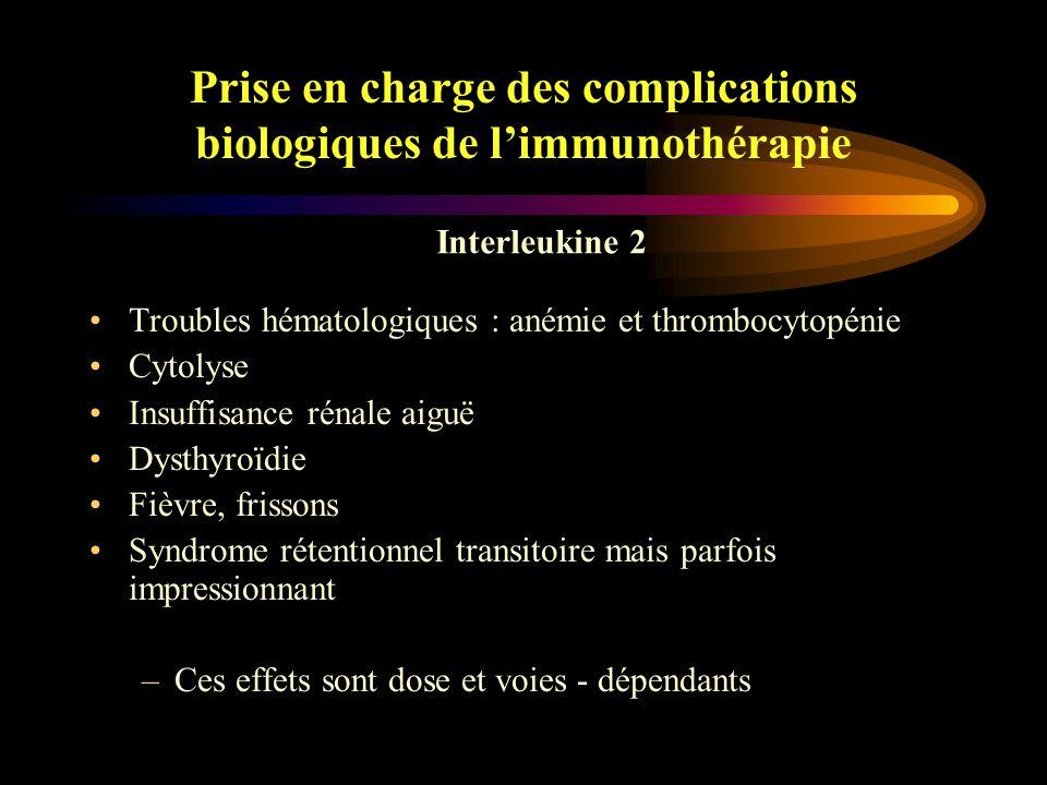 Prise en charge des complications biologiques de l'immunothérapie