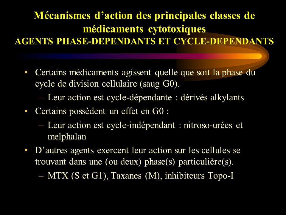 Mécanismes d'action des principales classes de médicaments cytotoxiques AGENTS PHASE-DEPENDANTS ET CYCLE-DEPENDANTS