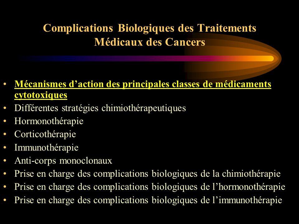 Complications Biologiques des Traitements Médicaux des Cancers