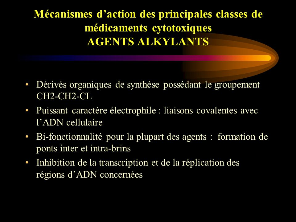 Mécanismes d'action des principales classes de médicaments cytotoxiques AGENTS ALKYLANTS
