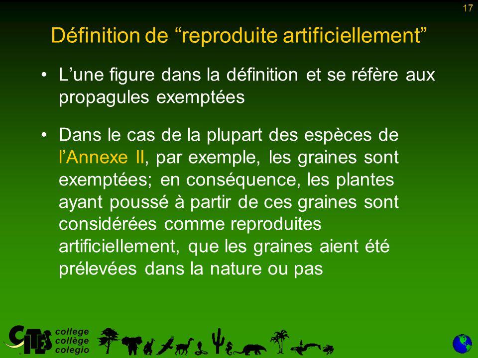 Définition de reproduite artificiellement