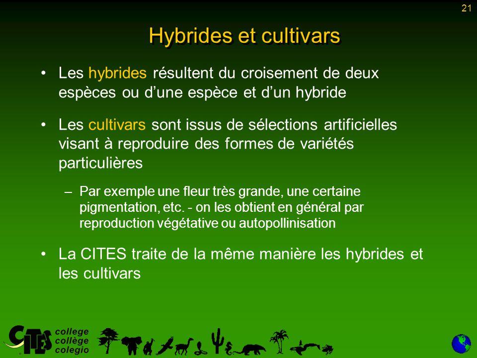 Hybrides et cultivars Les hybrides résultent du croisement de deux espèces ou d'une espèce et d'un hybride.