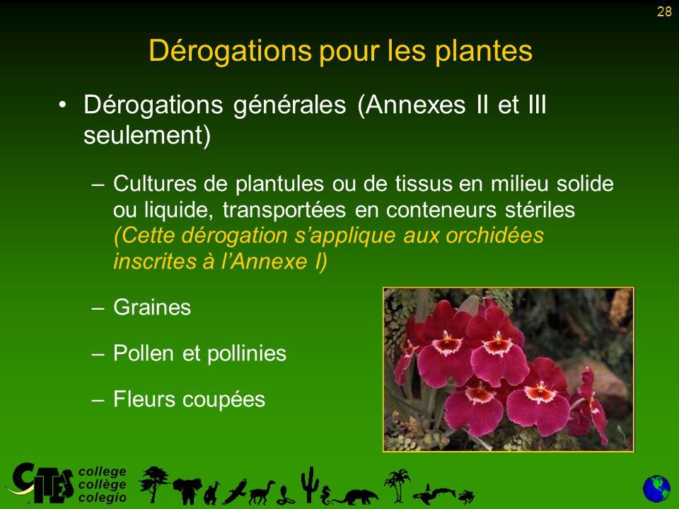 Dérogations pour les plantes