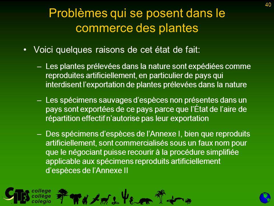 Problèmes qui se posent dans le commerce des plantes