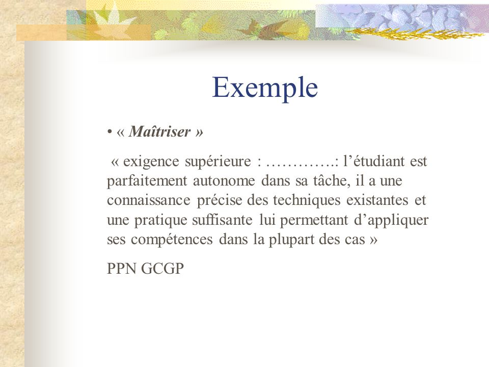 Exemple « Maîtriser »