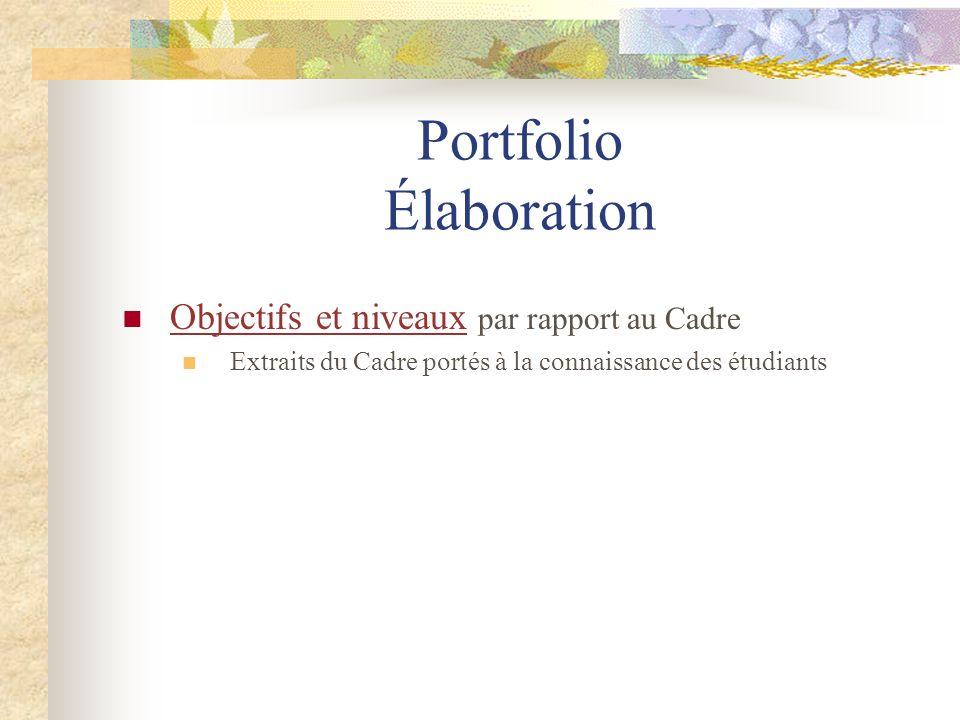 Portfolio Élaboration