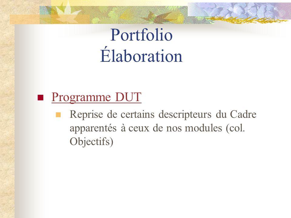 Portfolio Élaboration Programme DUT