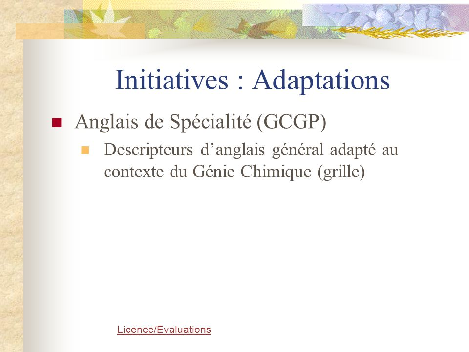 Initiatives : Adaptations
