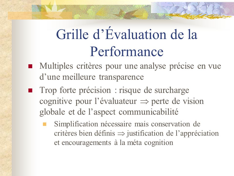 Grille d'Évaluation de la Performance
