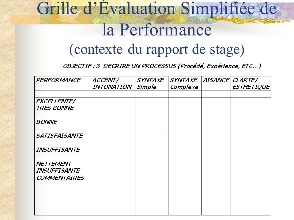 Grille d'Évaluation Simplifiée de la Performance (contexte du rapport de stage)