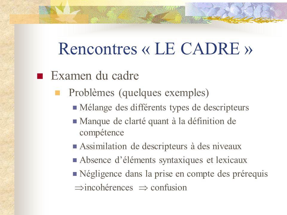 Rencontres « LE CADRE » Examen du cadre Problèmes (quelques exemples)
