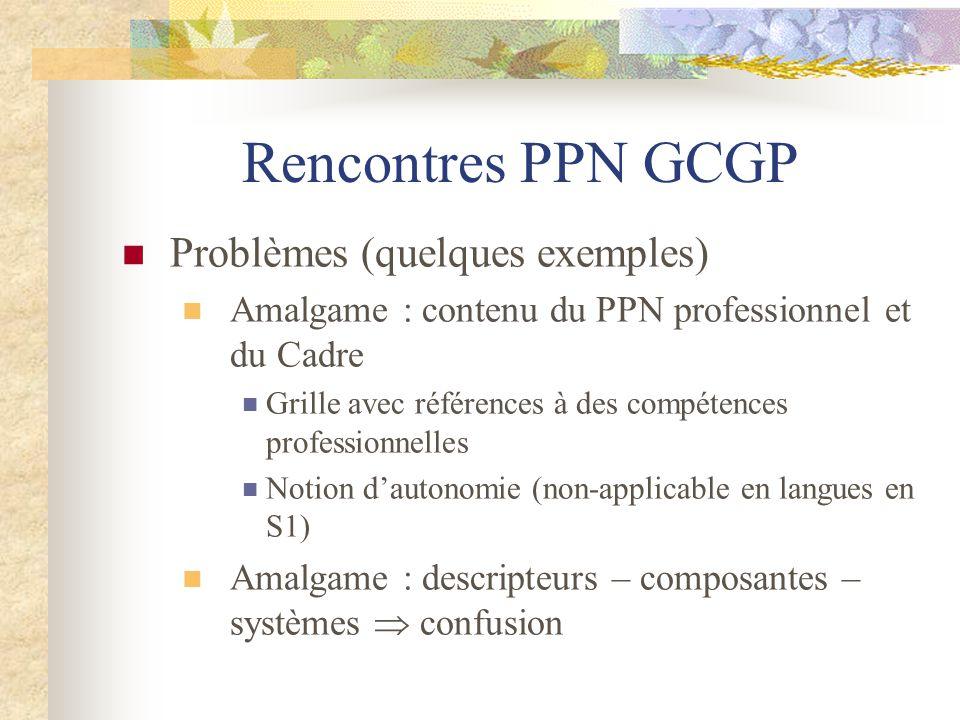 Rencontres PPN GCGP Problèmes (quelques exemples)