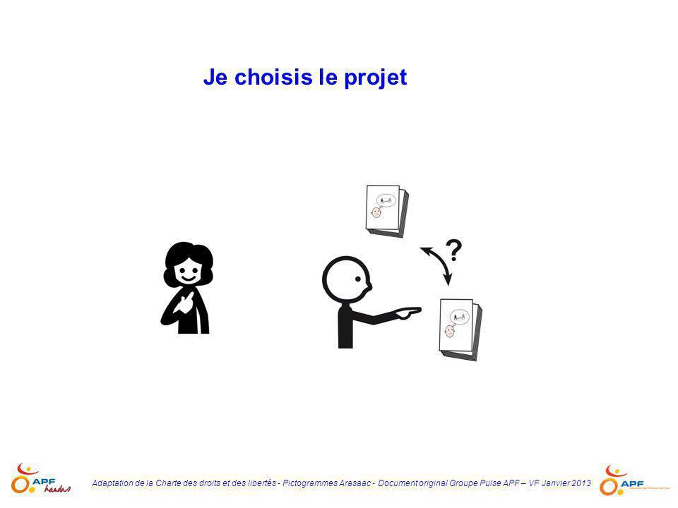 Je choisis le projet Adaptation de la Charte des droits et des libertés - Pictogrammes Arasaac - Document original Groupe Pulse APF – VF Janvier 2013.