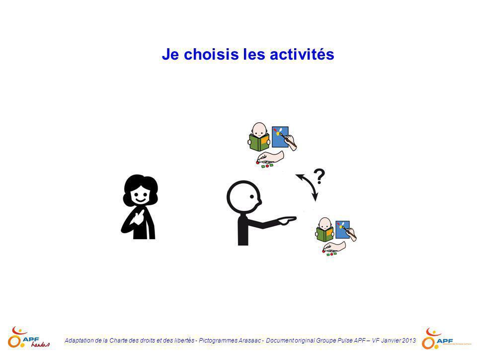 Je choisis les activités