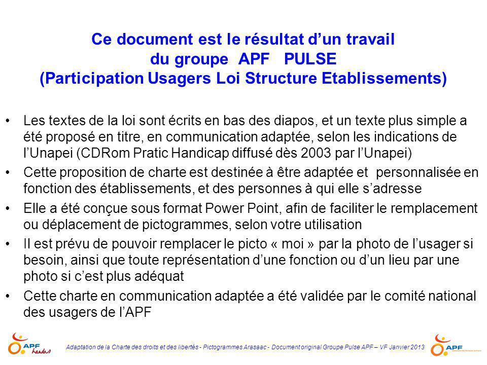 Ce document est le résultat d'un travail du groupe APF PULSE (Participation Usagers Loi Structure Etablissements)