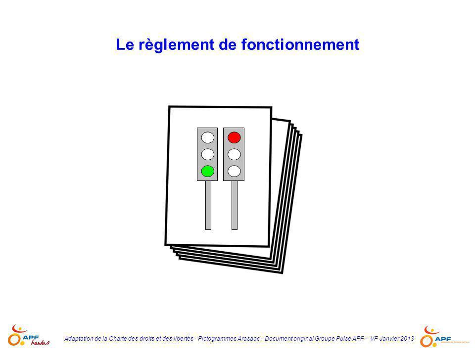 Le règlement de fonctionnement