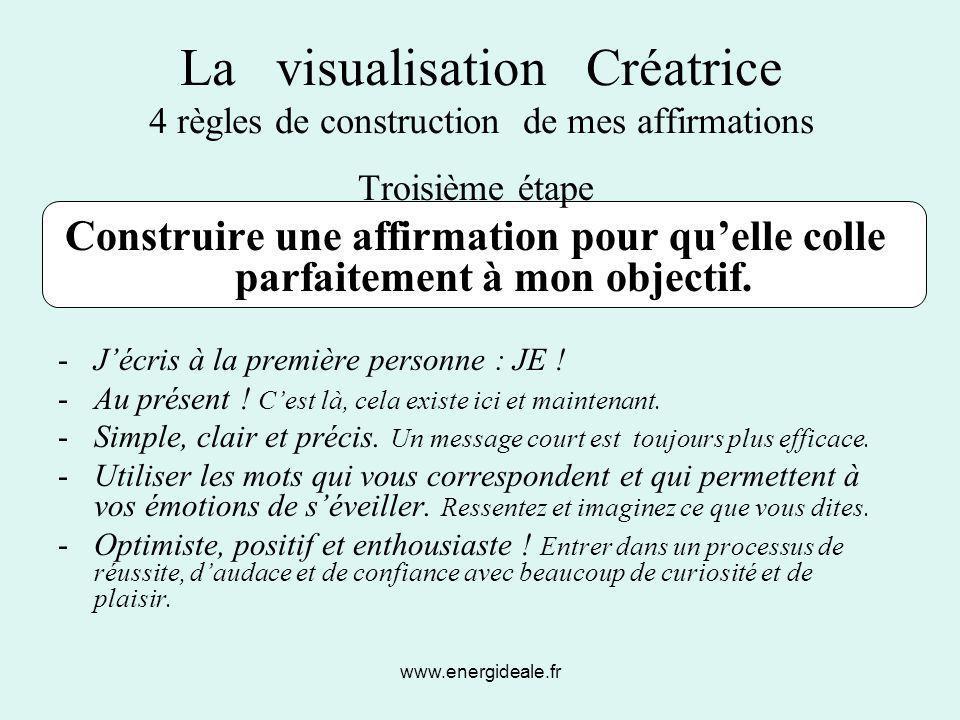 La visualisation Créatrice 4 règles de construction de mes affirmations