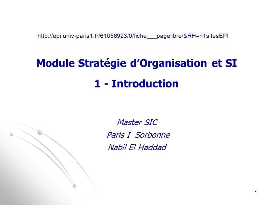 Module Stratégie d'Organisation et SI 1 - Introduction