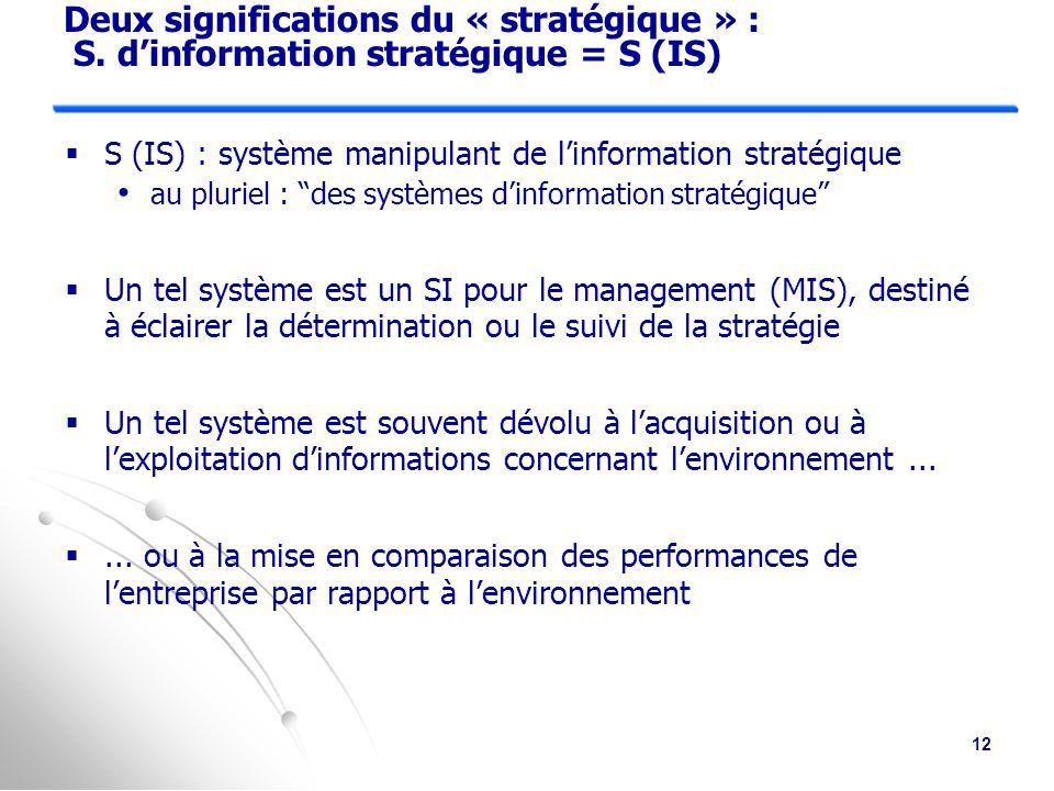 Deux significations du « stratégique » : S