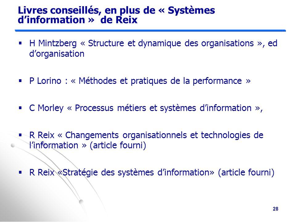 Livres conseillés, en plus de « Systèmes d'information » de Reix