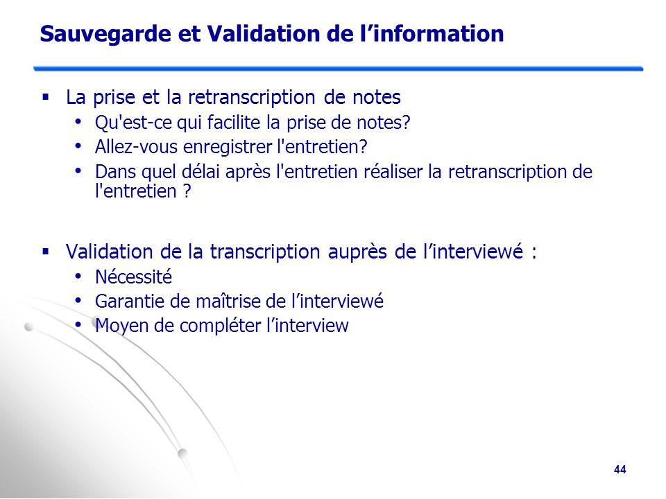 Sauvegarde et Validation de l'information