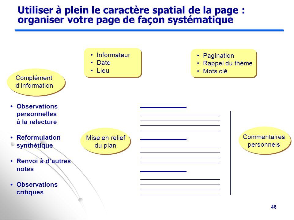 Utiliser à plein le caractère spatial de la page : organiser votre page de façon systématique