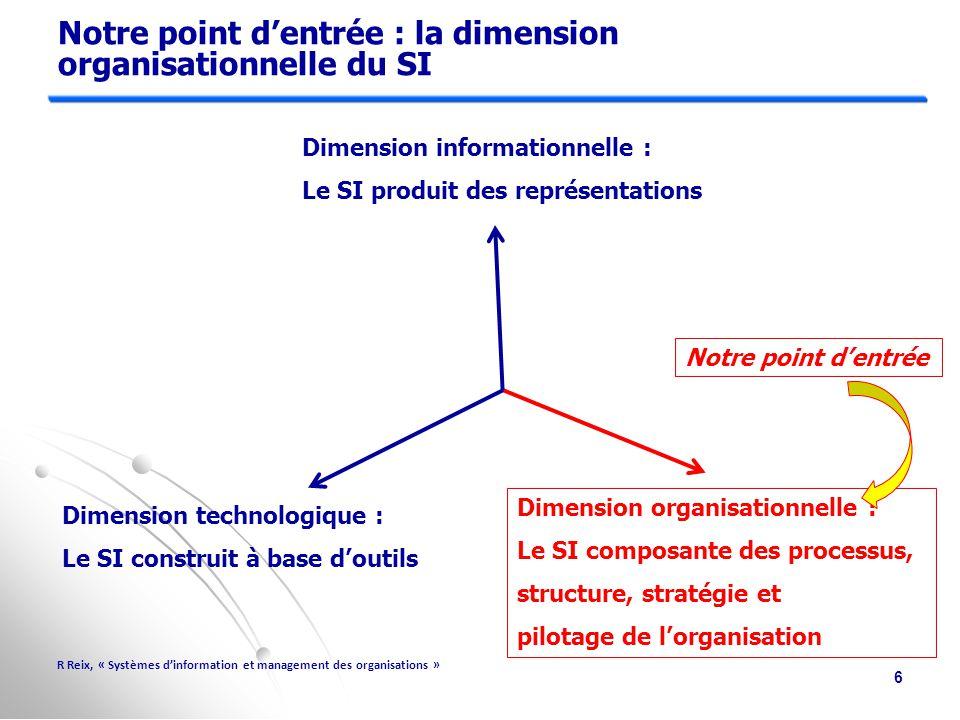 Notre point d'entrée : la dimension organisationnelle du SI