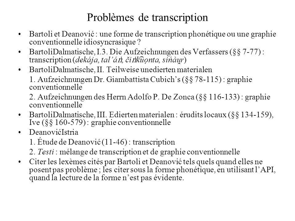 Problèmes de transcription