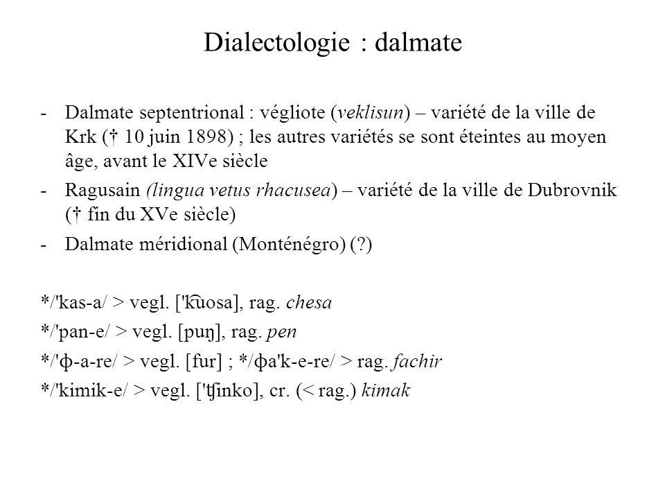 Dialectologie : dalmate