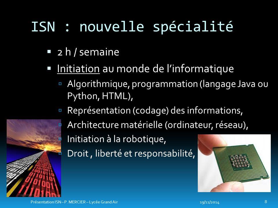 ISN : nouvelle spécialité