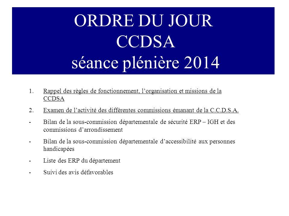 ORDRE DU JOUR CCDSA séance plénière 2014