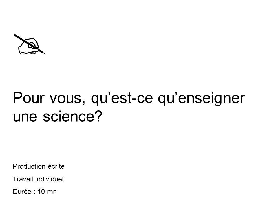  Pour vous, qu'est-ce qu'enseigner une science Production écrite