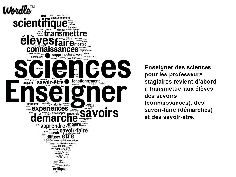 Enseigner des sciences pour les professeurs stagiaires revient d'abord à transmettre aux élèves des savoirs (connaissances), des savoir-faire (démarches) et des savoir-être.