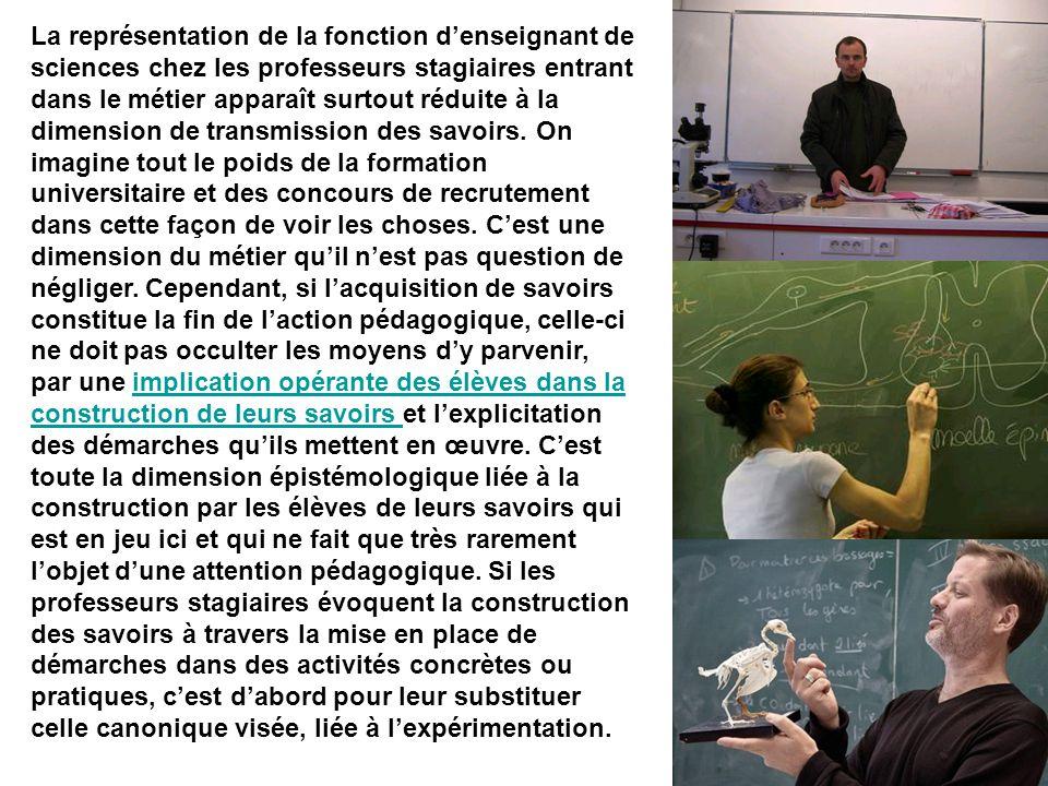 La représentation de la fonction d'enseignant de sciences chez les professeurs stagiaires entrant dans le métier apparaît surtout réduite à la dimension de transmission des savoirs.