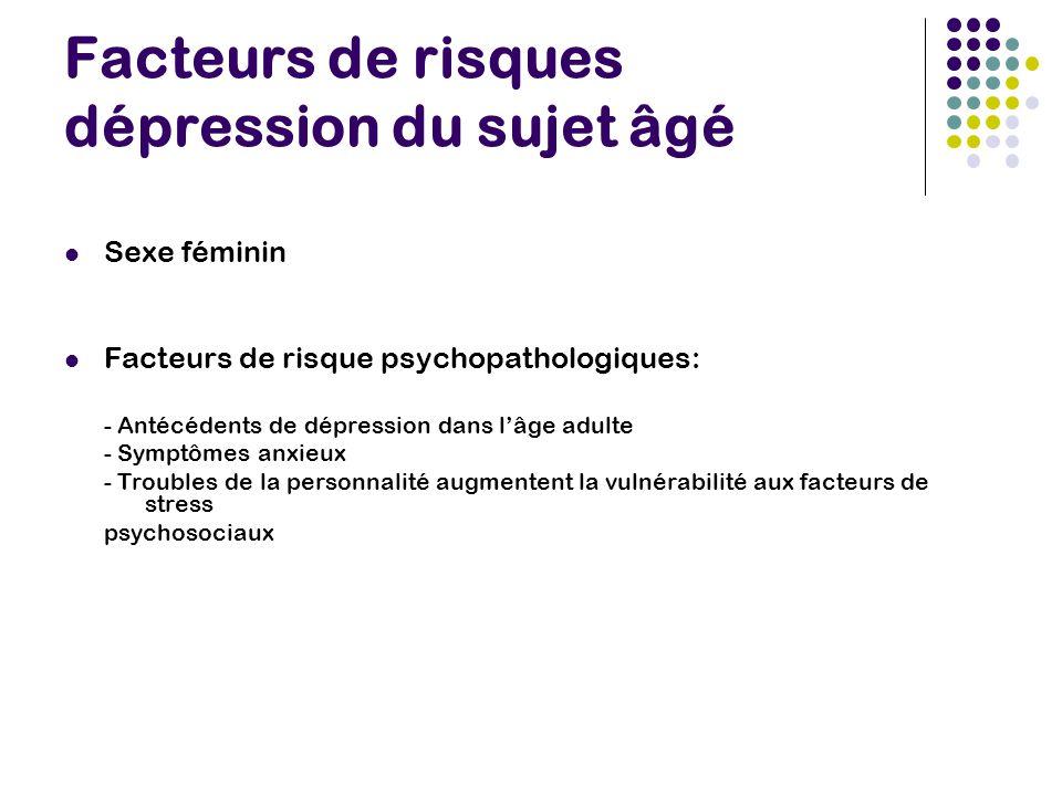 Facteurs de risques dépression du sujet âgé