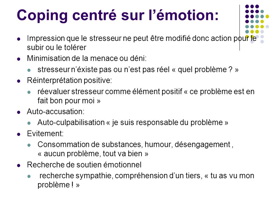 Coping centré sur l'émotion: