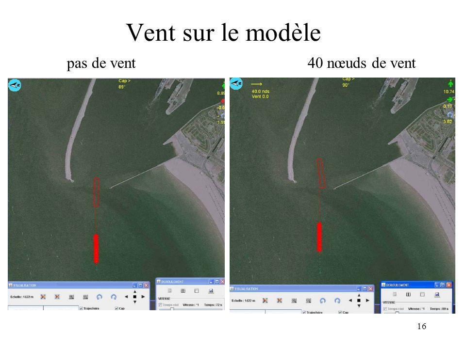 Vent sur le modèle pas de vent 40 nœuds de vent Expérience1 sur modèle