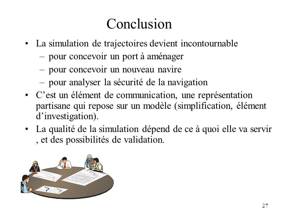 Conclusion La simulation de trajectoires devient incontournable