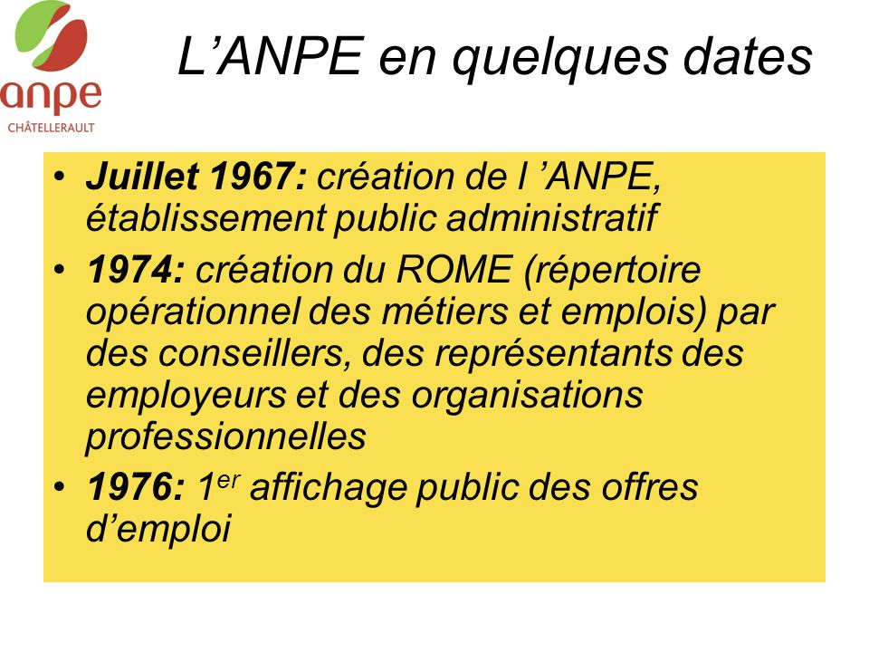 L'ANPE en quelques dates