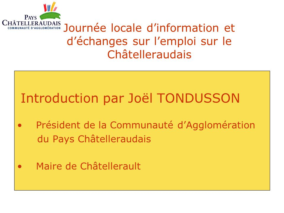 Introduction par Joël TONDUSSON