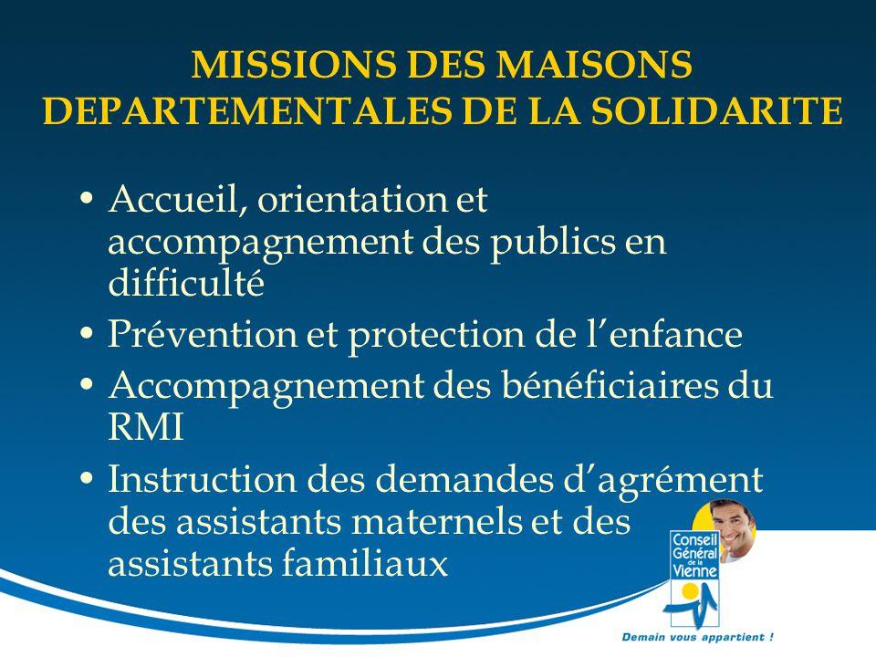 MISSIONS DES MAISONS DEPARTEMENTALES DE LA SOLIDARITE